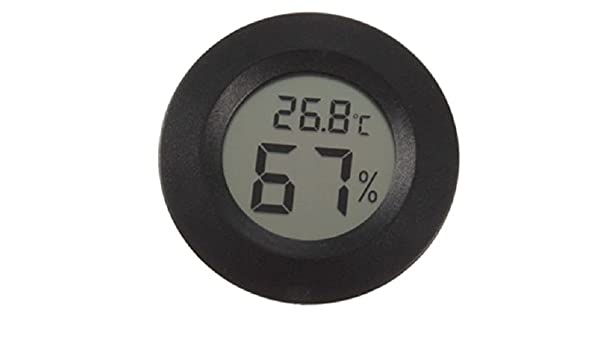 "Digital Reptile Pet Hygrometer Thermometer 1 3//4/"" Inch Round Black Face 001-C"