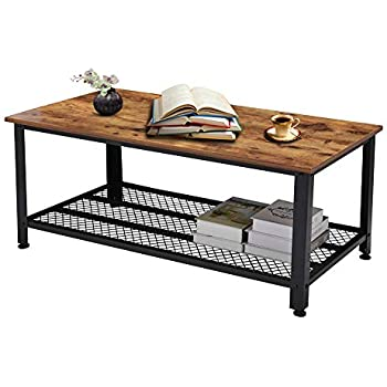 Rustic Coffee Table, Industrial Sofa Table Vintage Cocktail Wood End Table with Storage Shelf and Metal Frame for Home Living Room, Easy Assembly