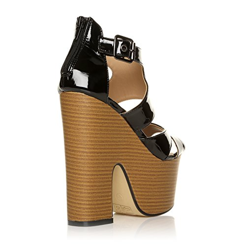 Party Ankle Wedge MIDI CORE Ladies Strap Size COLLECTION Womens Demi Shoes Black Heel HIGH 8 3 Patent Chunky HqqXzPxnfw