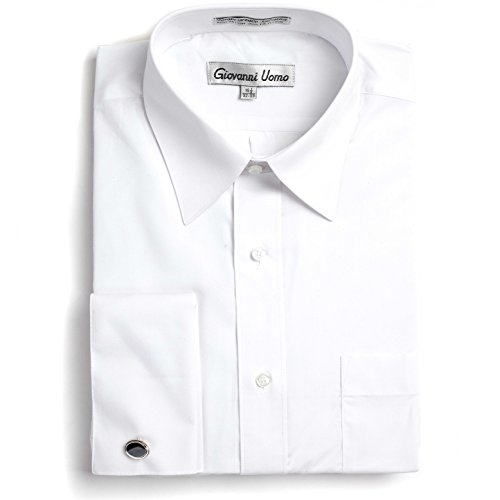 Gentlemens Collection Men's French Cuff Solid Dress Shirt (Cufflink Included) (White, 18\ Neck 34/35\