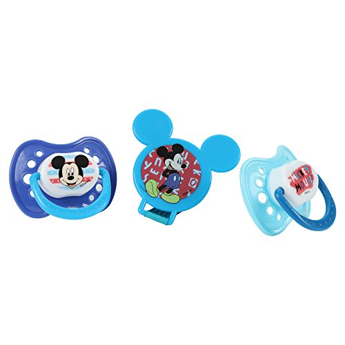 Newborn Pacifier Disney - Disney Mickey Mouse and Pacifier Clip Set, Blue, 2 Count