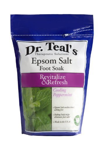 Dr. Teals Revitalize and Refresh Epsom Salt Foot Soak, Cooling Peppermint - 32 Oz, by Dr. (Mint Foot Soak)
