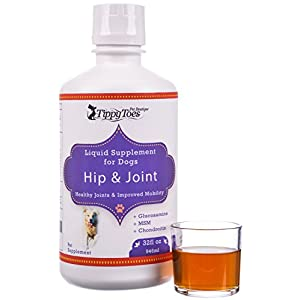 Tippy Toes Pet Boutique Premium LIQUID GLUCOSAMINE for DOGS - Hip and Joint Supplement with Chondroitin Hyaluronic Acid and MSM GREAT for Dogs Arthritis Joint Aid Pain Relief and Hip Dysplasia.