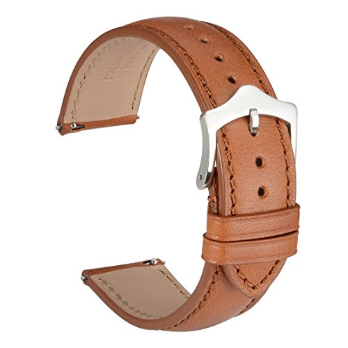 Italian Leather Band (WOCCI Quick Release Watch Straps 18mm Brown Italian Leather Watch Band with Silver Steel Taper Pins Buckle)