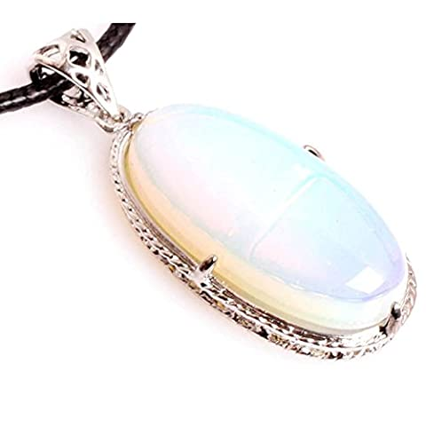 Gem-inside 17X45MM Oval White Opalite Gemstone Chakra Pendant Leather Necklace Fashion Jewelry For Women 18 Inches