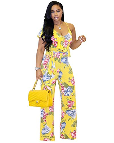 Halfword Women's Sexy V Neck Wide Leg Long Pants Ruffle Floral Printed Jumpsuit Rompers Yellow