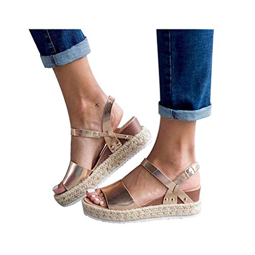 (Women's Platform Sandals Espadrille Wedge Ankle Strap Studded Open Toe Sandals Peep Toe Beach Travel Flat Shoes)