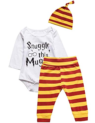 3Pcs/Set Infant Baby Boys Girls Snuggle Rompers+Striped Pants+Hat Take Home Outfits (White, 6-12 Months)