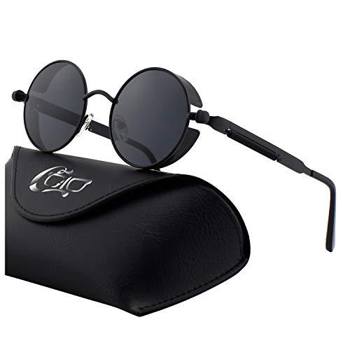CGID E72 Retro Steampunk Style Inspired Round Metal Circle Polarized Sunglasses for Women ()