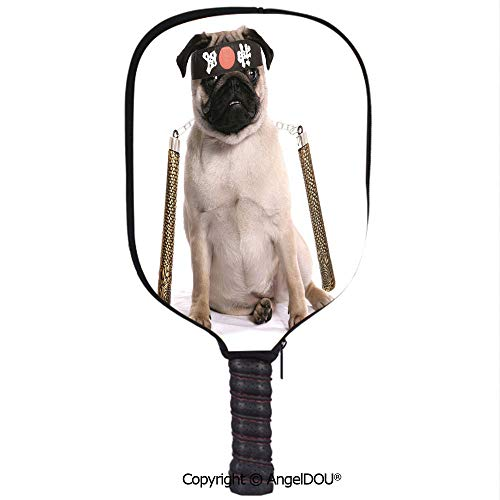 AngelDOU Pug Lightweight Neoprene Durable Pickleball Paddle Cover Ninja Puppy with Nunchuk Karate Dog Eastern Warrior Inspired Costume Pug Image Decorative Holder Sleeve Case Protector.Cream Black Go