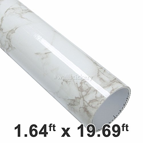 Cheap Wallstickery marble contact paper for countertop Beige Gray granite wallpaper self adhesive wall stickers peel stick pattern decorative cabinets (1.64 ft x 19.69 ft, Beige Gray)