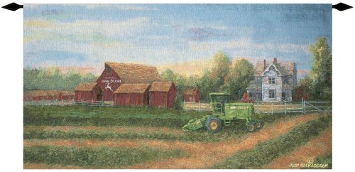 John Deere Tapestry - Manual Weavers John Deere White Farm House Cotton Tapestry Wall Art Hanging 26