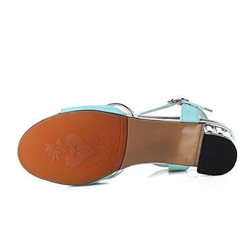 Amoonyfashion Kvinna Låga Klackar Diverse Färg Spänne Öppna Sandaletter Blå