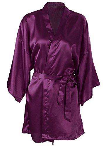 Pink Short Nightgown (Women's Solid Color Kimono Satin Robe Nightgown Sleepwear Short Dark Purple)