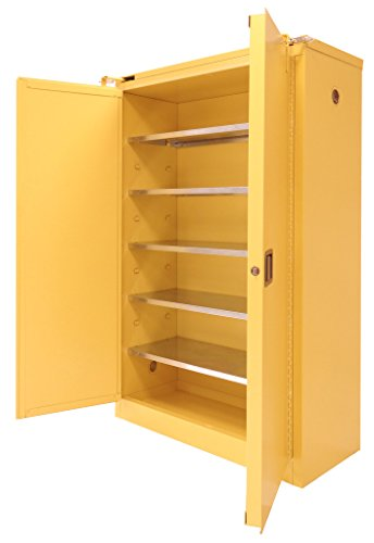 SECURALL P360 Paint/Ink Storage Cabinet, 2 Self-Close Self-Latch Safe-T-Doors, 15 YR Warranty, 67 x 43 x 18, 18-Gauge Steel, 60-Gal Cap, 5-Adj Shelves, FM Approved, SMaRT Certified, OSHA Comp - Yellow (Flammable Cabinets Grounding)