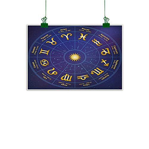 Astrology Modern Art Horoscope Zodiac Signs with Birth Dates in Circle with Star Dots Print Kitchen Wall Decor Royal Blue and Yellow W 32