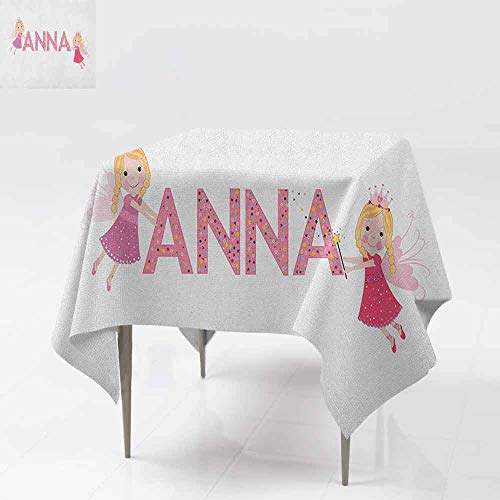 (AndyTours Spill-Proof Table Cover,Anna,Traditional Nursery Themed Lettering with Colorful Dots with Fairies Female Children,Party Decorations Table Cover Cloth,54x54 Inch)