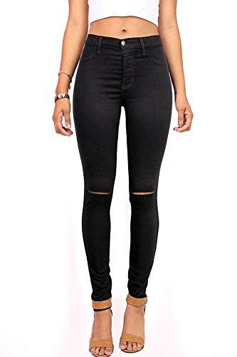 1065469d9fc4 Vibrant Women's Juniors Ripped Knee High Waist Jeggings (1, Black)
