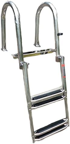 "Great Boater Sports ASL Grade 4 Step 50/"" Aluminum Pontoon Boat Folding Ladder"