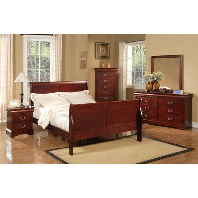 Bed Size Sleigh Full Metal (Alpine Furniture Louis Philippe II 4 Piece Bedroom Set, Full Size)