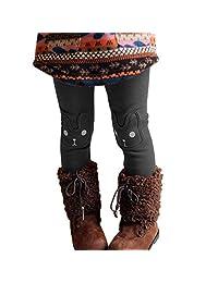 Evelin LEE Kids Girls Winter Stretchy Leggings Thick Warm Fleece Tight Pants