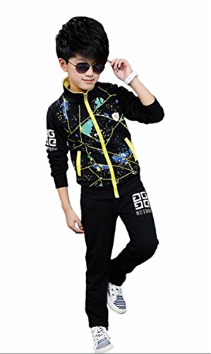ODFAPP Adorable Kids Sports Suits For Boys Casual Full Sleeve Coats & Pants Kids Tracksuits For Girls Autumn Children Clothing Set Girls Clothes Black5 (Sims 3 Halloween Full Set)