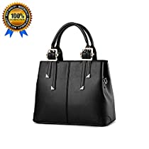QUBABOBO Women Leather Top Handle Zipper Closure Handbags