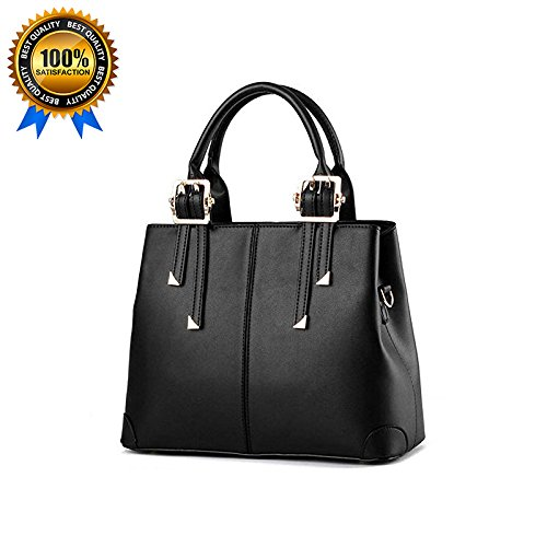 QUBABOBO Women Leather Top Handle Zipper Closure Handbags Black(Gift for Valentine)
