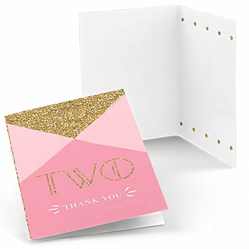 Big Dot of Happiness Two Much Fun - Girl - 2nd Birthday Party Thank You Cards (8 Count)]()