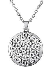 Cooltime Silver Flower of Life - Collar con colgante de geometría sagrada