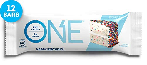ONE Protein Bar, Birthday Cake, 2.12 oz. (12 Pack), Gluten-Free Protein Bar with 20g Protein and only 1g Sugar, Guilt-Free Snacking for High Protein Diets
