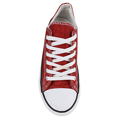 64baac80d3dd ... Stiefelparadies Glitzer Damen Sneakers Sneaker Low Metallic Schnürer  Denim Flats Turnschuhe Sportschuhe Flandell Rot Rot Glitzer
