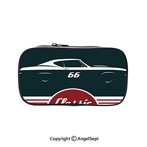 Big Capacity Pencil Case 1L Storage,Classic Vintage Sports Car Muscle Vehicle Silhouette Old Fashioned Decorative Ruby White Dark Blue 5.1inches,Desk Pen Pencil Marker Stationery Organizer with Zippe