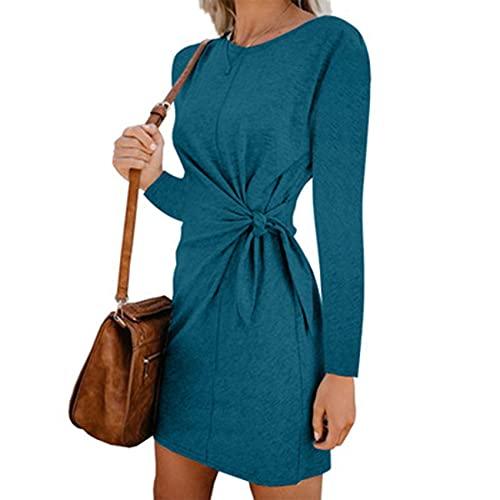 XYJD Lente en zomer vrouwen casual losse trui lange mouwen effen kleur ronde hals stropdas taille jurk vrouwen