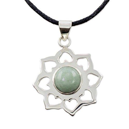 - NOVICA Jade .925 Sterling Silver Pendant Necklace, 18