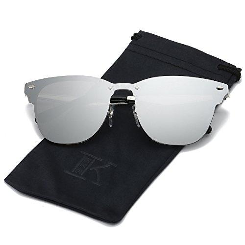 LKEYE Clubmaster Classic Unisex Sunglasses Futuristic Integral Rimless Lens LK1738 Silver
