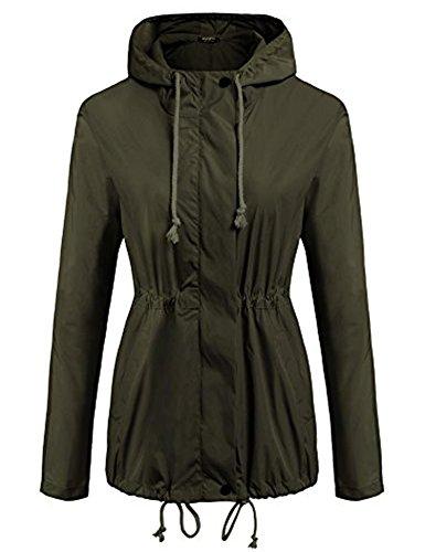 Bifast Women's Classic Look Raincoat Hooded Plaid Lined Waterproof Jacket Army Green S (Raincoat Lined Plaid)