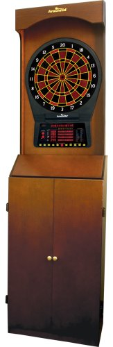 Arcade-Style Electronic Dartboard Cabinet - Mahogany by DMI Sports