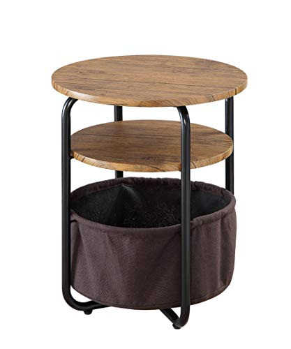 (Abington Lane Two-Tier End Table with Storage Basket - Ultimate Decorative Set with Storage Beneath Great for Holding Books, Newspaper, Magazines, and Blankets Perfect for Any Room (Walnut Finish))