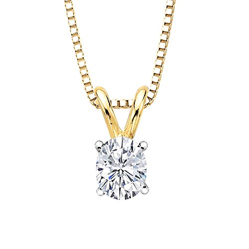 GIA Certified 1.01 ct. I - SI1 Oval Cut Diamond Solitaire Pendant with Chain in 14K Yellow Gold by KATARINA