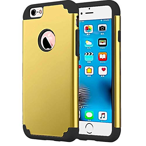 Case Compatible with Regular 4.7 inch Apple iPhone 8 (2017 Release)/iPhone 7 (2016 Release),Heavy Duty Slim Shockproof Drop Protection 2 in 1 Hybrid Hard PC Covers Soft Rubber Bumper case_Gold