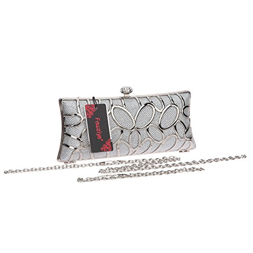Hard Clutches Metal Initials Women Bags Fawziya And Purses Silver For Evening Glitter Clutch gqUHT0