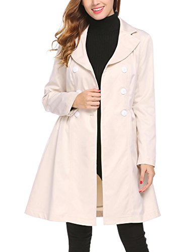 (SE MIU Women Slim Fit Lapel Double-Breasted Fall Trench Coat Beige L)