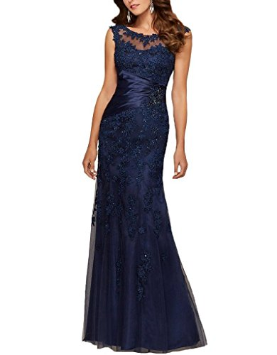 Prommay Women's Cap Sleeve Applique Formal Prom Dress Long Mother of the Bride Dress