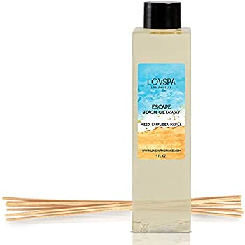 LOVSPA Escape Beach Getaway Reed Diffuser Oil Refill with Replacement Reed Sticks | Citrus Marine Fragrance - Ocean Scented Oil & Reeds | 4 oz | Made in The USA