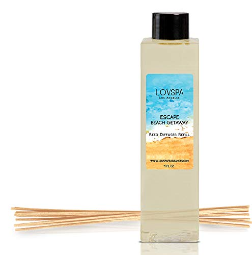LOVSPA Escape Beach Getaway Reed Diffuser Oil Refill with Replacement Reed Sticks | Citrus Marine Fragrance - Ocean Scented Oil & Reeds | 4 oz | Made in The USA by LOVSPA (Image #4)