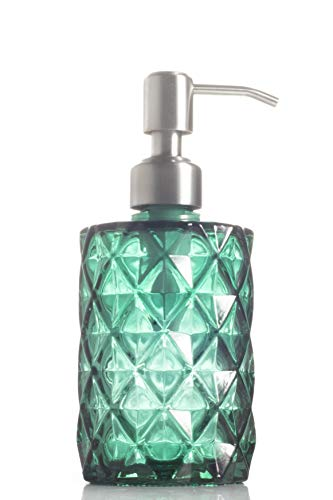- Easy-Tang Soap Dispenser with Stainless Steel Pump, Refillable Wash Hand Soap Clear Glass Bottle, Ideal for Liquid Soaps, Essential Oils and Lotions (Green)