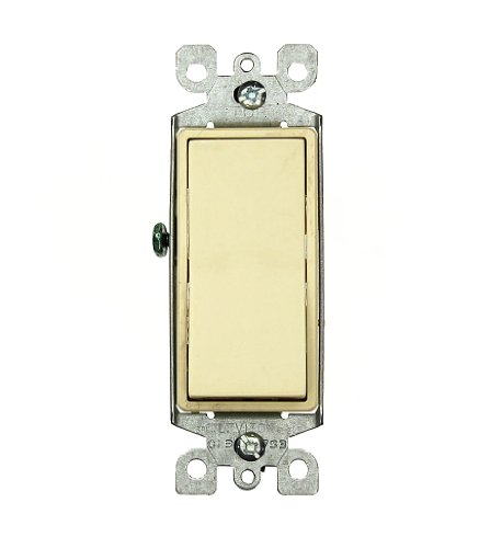 Leviton 5603-2I 15 Amp, 120/277 Volt, Decora Rocker 3-Way AC Quiet Switch, Residential Grade, Grounding, Ivory