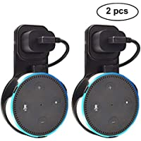 Outlet Wall Mount Hanger Holder Stand for Amazon Echo Dot 2nd Gen Without Mess Wires Or Screws, Plug in Study, Kitchen, Bedroom, Bathroom. (2pcs, Black)