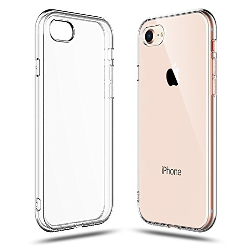 (Shamo's Crystal Clear Shock Absorption TPU Rubber Gel Case (Clear) compatible with iPhone 7 and 8)